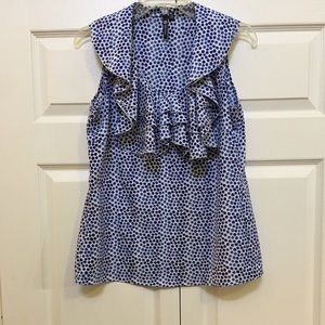 CUTE BLUE DOTTED TOP WITH RUFFLES. WEAR YEAR ROUND